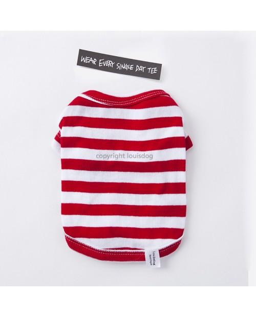 Lazy Shirt Red Stripes Louis Dog