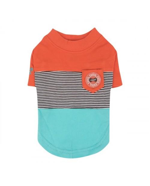 Bluzka dla Psa Puppia ZACHARY Pomarańczowo-Niebieska