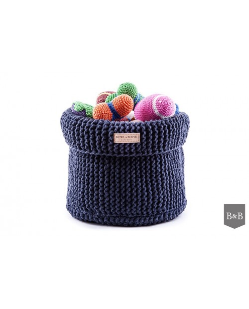 Kosz na zabawki Cotton - granatowy/navy Bowl&Bone
