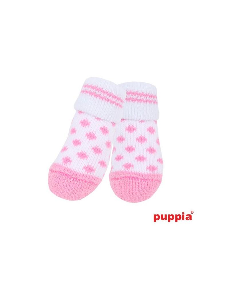Skarpetki dla Psa z antypoślizgiem Puppia Polka Dot Biało-Różowe