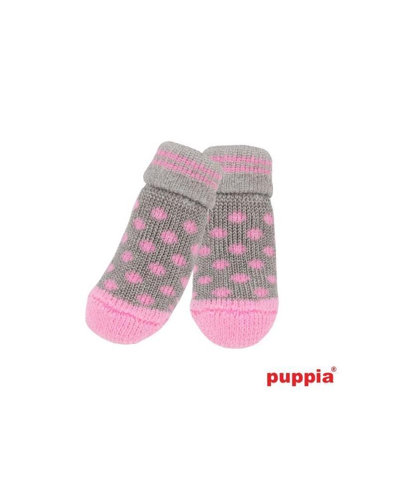 Skarpetki dla Psa z antypoślizgiem Puppia Polka Dot Szaro-Różowe