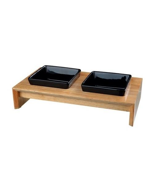 Miska dla Psa- Zestaw misek ceramiczno drewniany - czarny