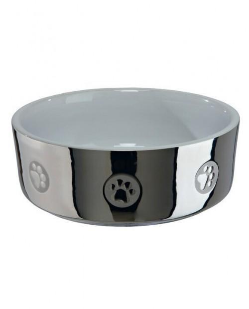 Miska dla Psa Ceramiczna z motywem srebrno/biała
