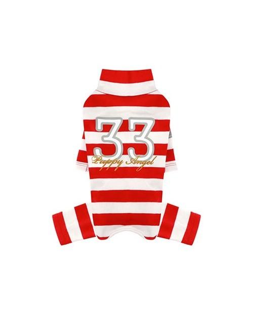 Kombinezon dla Pieska Puppy Angel(R) Simple Big Stripes Overalls red