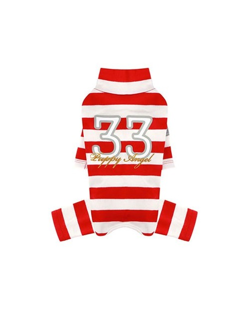 Kombinezon dla Pieska Puppy Angel(R) Simple Big Stripes Overalls red