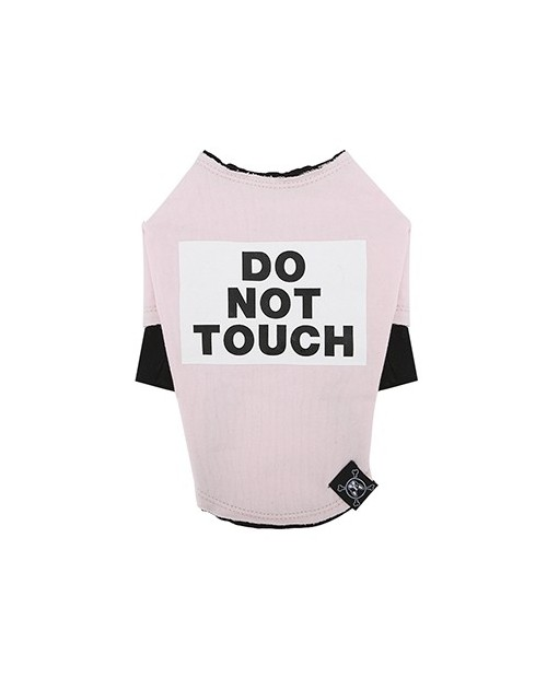 Bluzka dla Pieska Do Not Touch Rough Cut Layered Round T-shirt PINK