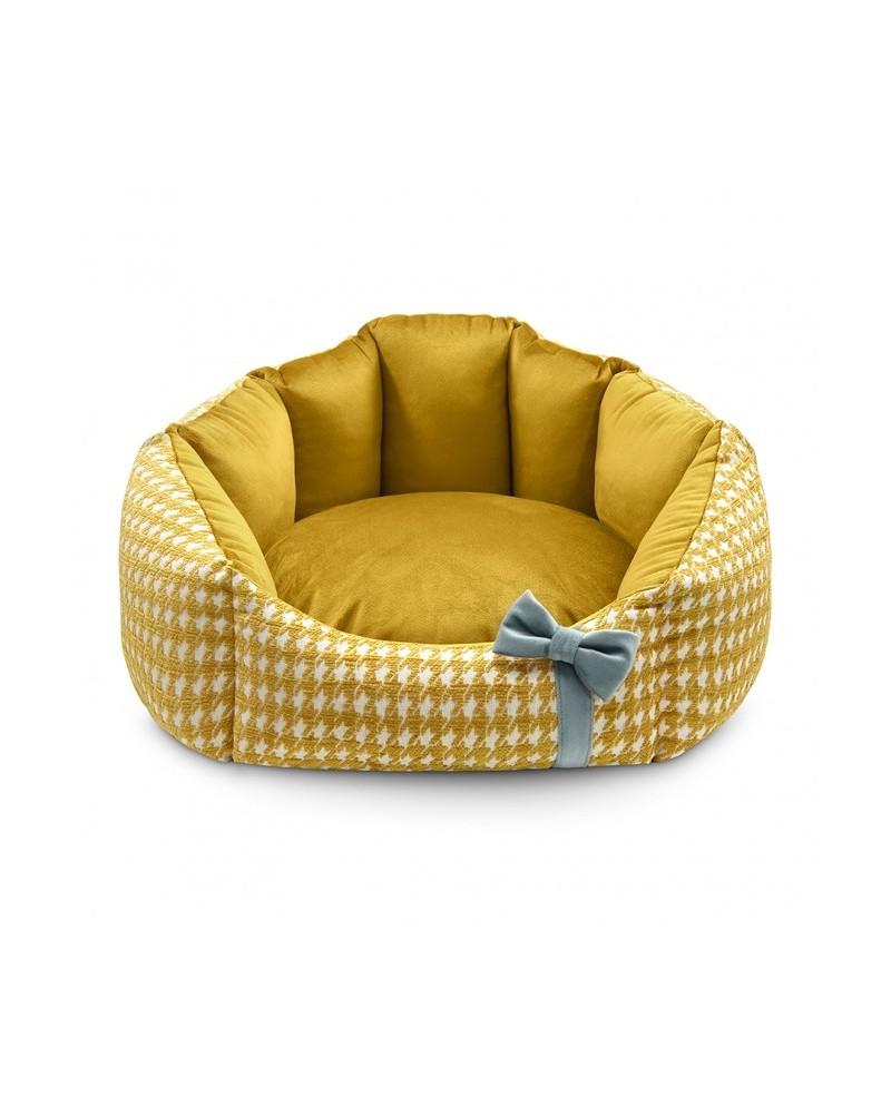 Legowisko Glamour pudrowy złote