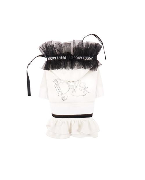 Dresowa sukienka bluza dla dziewczynki Puppy Angel(R) Diva Frill Hood Track Skirt BIAŁA