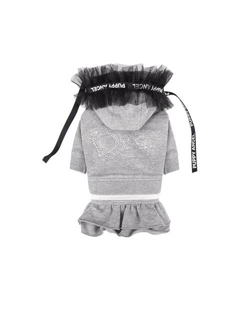 Dresowa sukienka bluza dla dziewczynki Puppy Angel(R) Diva Frill Hood Track Skirt SZARA