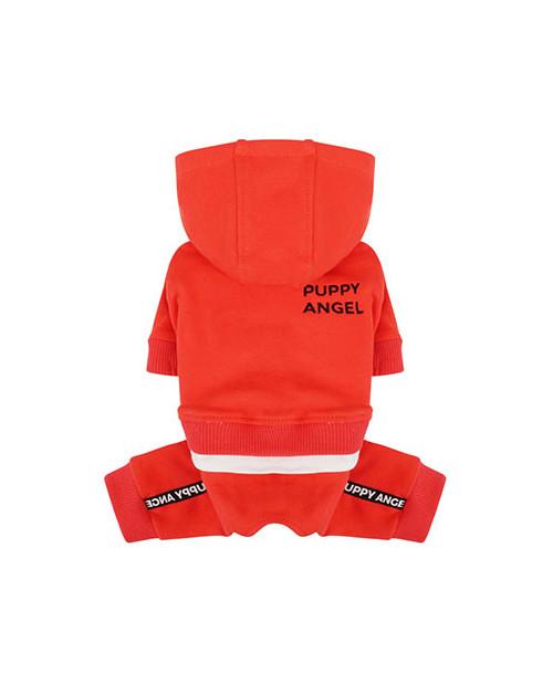 Dres dla Psa Puppy Angel Basic Logo Tape Hood Tracksuit c zerwony