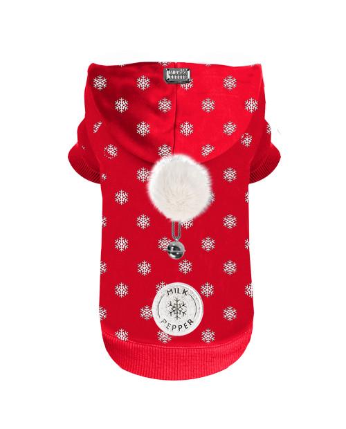 Świąteczna Bluza dla Psa Milk&Pepper Flake Red Hoodie