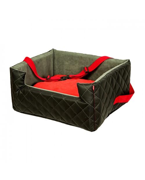 Fotelik samochodowy dla psa lub kota Mia LUX czarno-czerwony