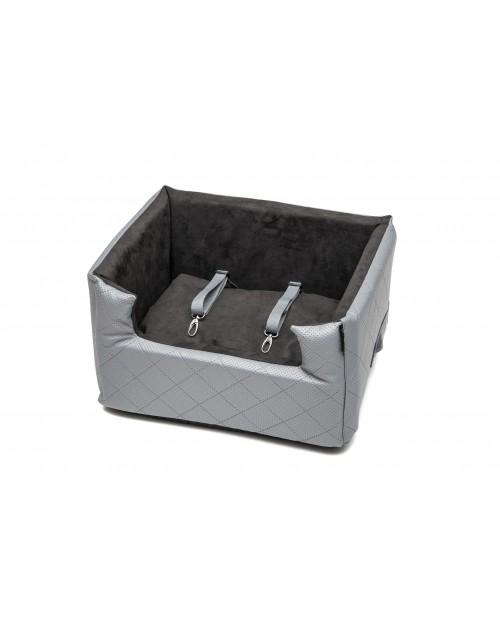 Fotelik samochodowy dla psa lub kota Mia LUX metallic jasny szary