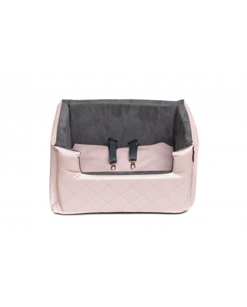 Fotelik samochodowy dla psa lub kota Mia LUX metallic różowy