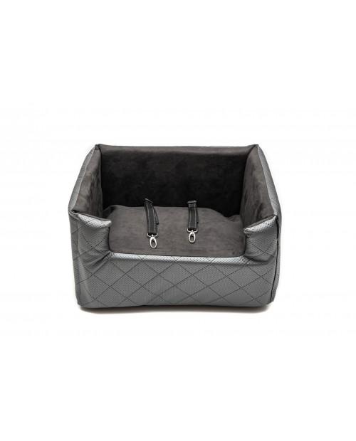 Fotelik samochodowy dla psa lub kota Mia LUX metallic szary